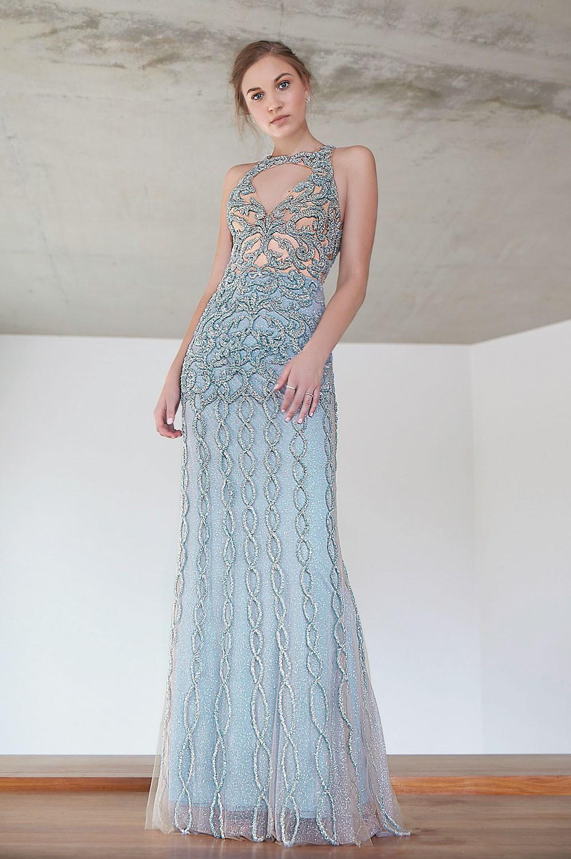 Vestido longo shine bordado decote