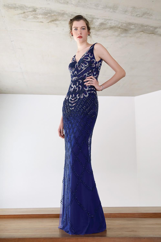 Vestido longo tela bordado