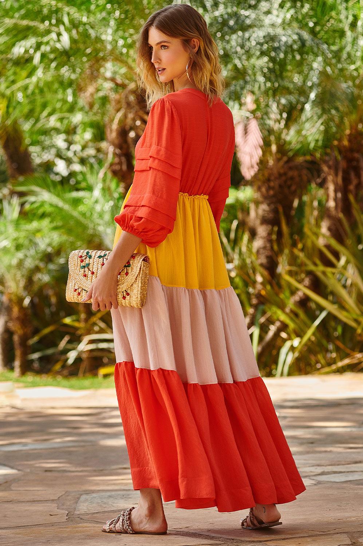Vestido longo tricolor fluido
