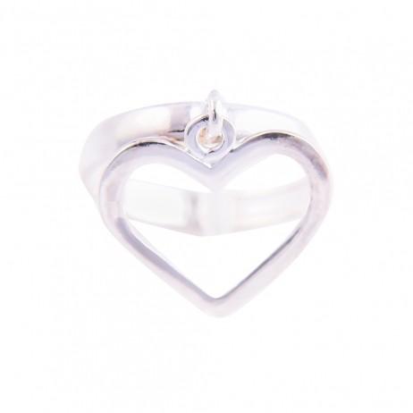 Anel de Prata com pingente Coração