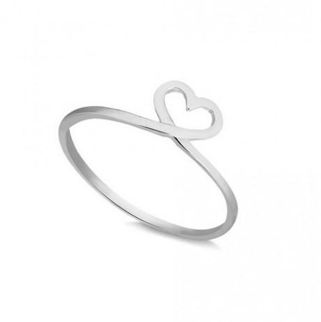 Anel de Prata Coração Desenhado