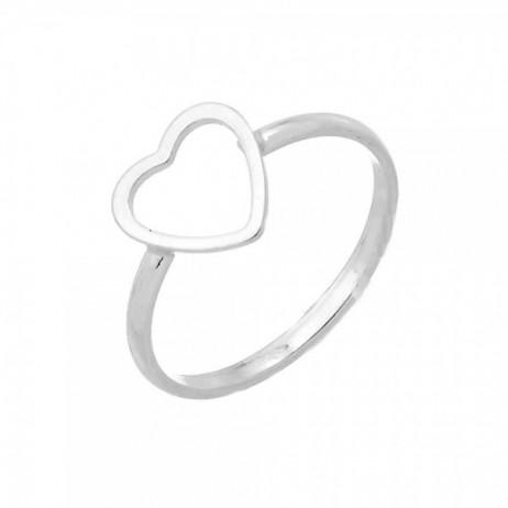 Anel de Prata Coração Vazado Pequeno