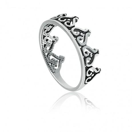 Anel de Prata Envelhecida Coroa de Corações