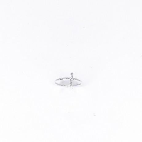 Anel de Prata Cruz Deitada