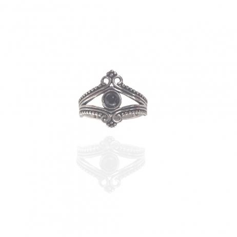Anel de Prata Envelhecida Coroa com Pedra