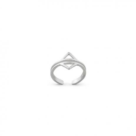 Anel de Prata Falange Dois Triângulos