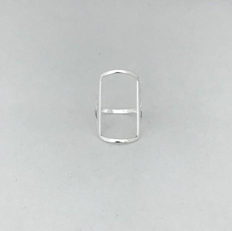 Anel de Prata Retângulo Vazado