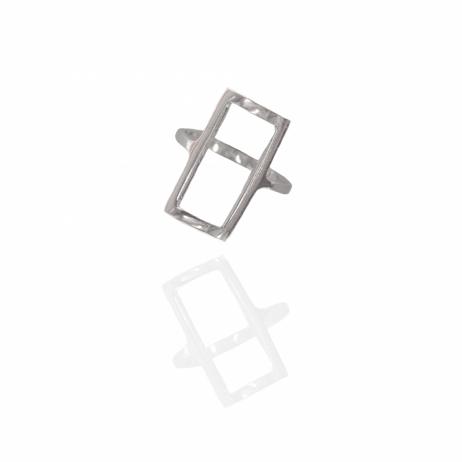 Anel de Prata Retângulo Vazado Pequeno