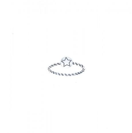 Anel de Prata Trançado Estrela