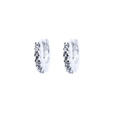 Argola de Prata de Click com Zircônias Pequena