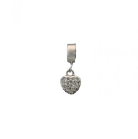 Berloque de Prata Coração com zircônia