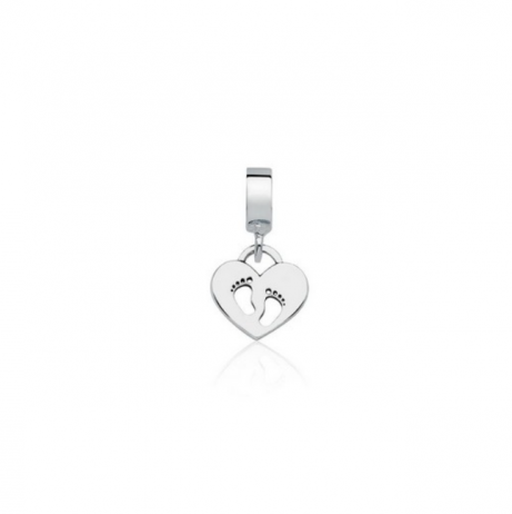 Berloque de Prata Coração Pezinhos