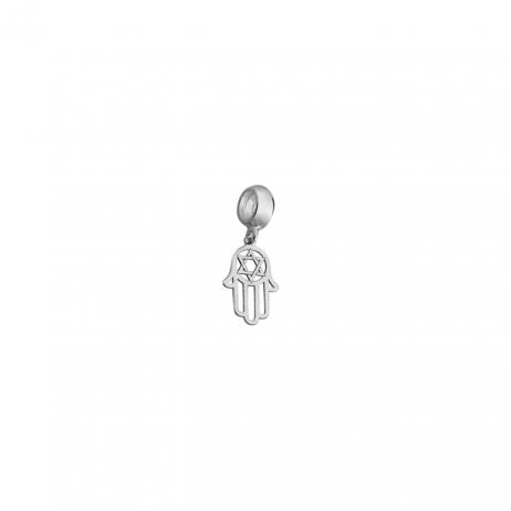 Berloque de Prata Mão de Fátima com Estrela de Davi