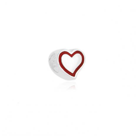 Berloque de Prata Separador Coração com Contorno