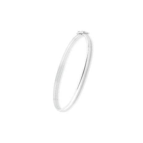 Bracelete de Prata Aro Liso Abaloado Pequeno