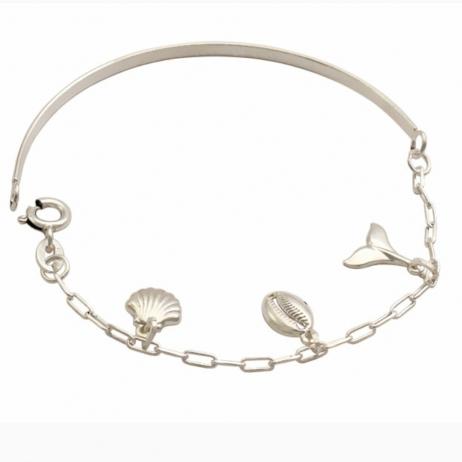 Bracelete de Prata Búzio, Concha e Rabo de Sereia