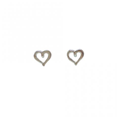 Brinco de Prata Coração Desenhado