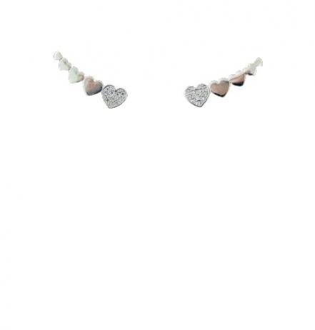 Brinco de Prata Ear Cuff Corações