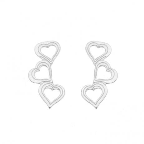 Brinco de Prata Ear Cuff Corações Vazados