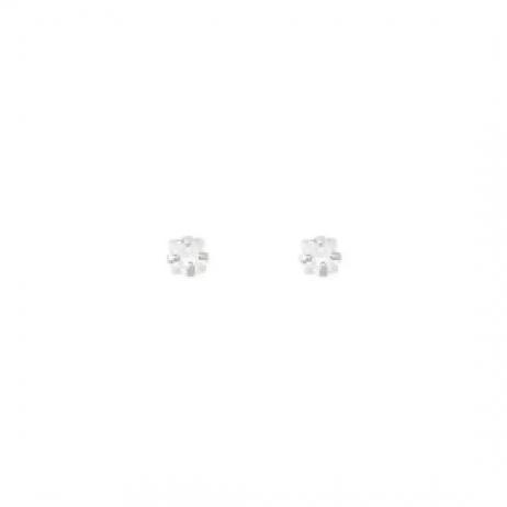 Brinco de Prata Mini Zircônia Quadrada