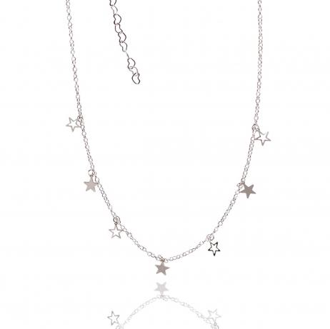 Choker de Prata Estrelas Cheias e Vazadas