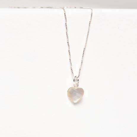 Colar de Prata Coração Madrepérola
