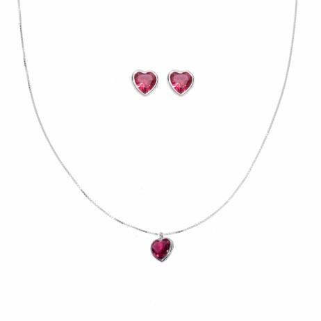 Conjunto de Prata Coração com Zircônia Vermelha