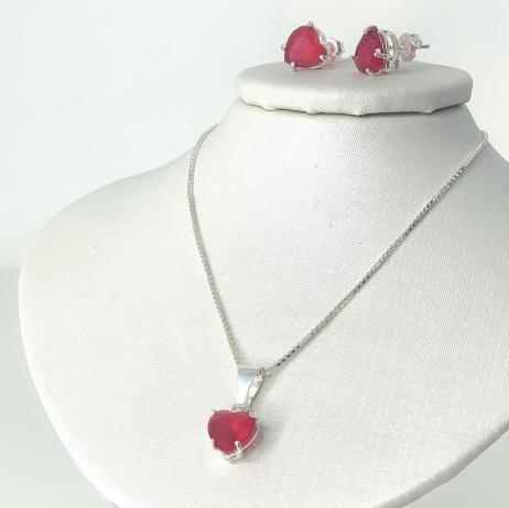 Conjunto de Prata Coração Grande com Zircônia Vermelha