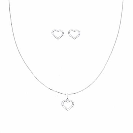 Conjunto de Prata Coração Vazado Pequeno