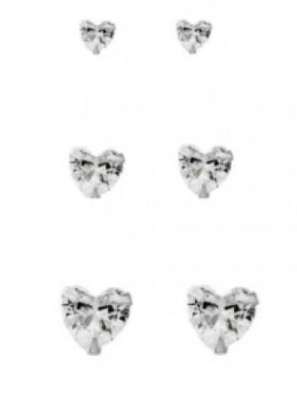 Kit Brinco de Prata Coração Zircônia