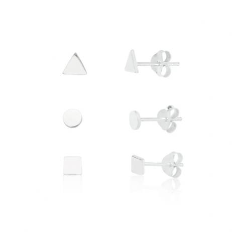 Kit de Brinco de Prata Círculo, Quadrado e Triângulo