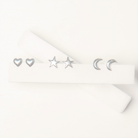 Kit de Brinco de Prata Coração, Estrela e Lua