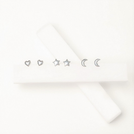Kit de Brinco de Prata Coração, Estrela e Lua Pequeno