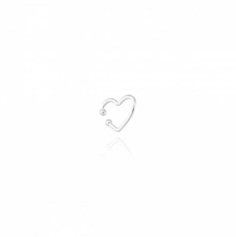 Piercing de Prata de Pressão Coração Vazado