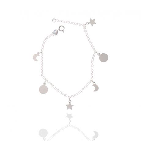 Pulseira de Prata Estrelas e Luas