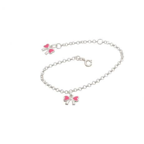 Pulseira de Prata Infantil Lacinhos Rosa
