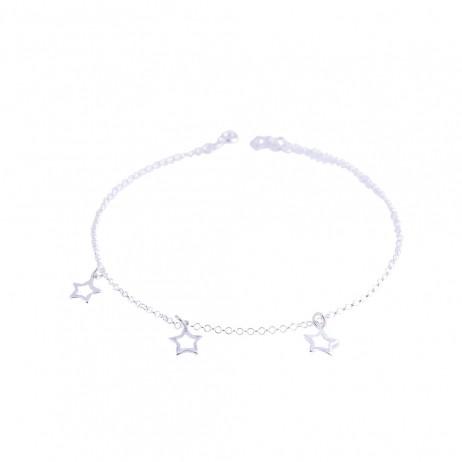 Tornozeleira de Prata Estrelas Vazadas