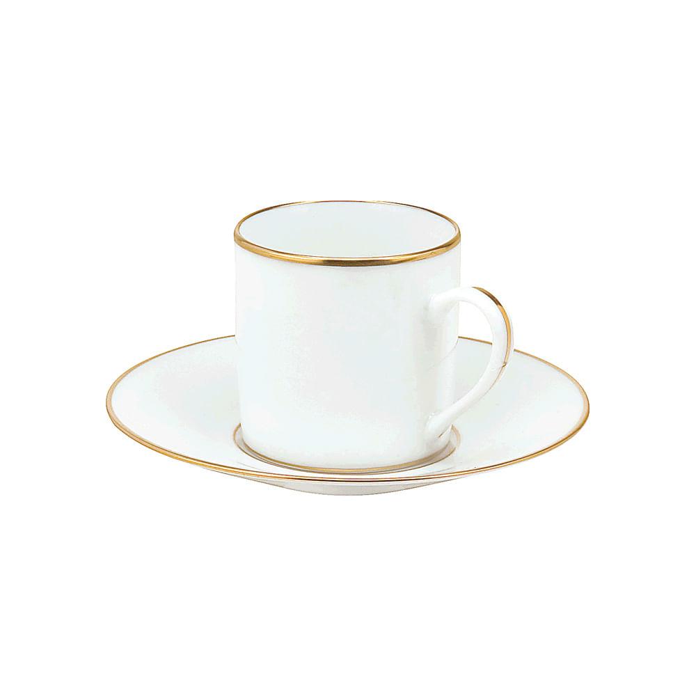 XÍCARA CAFÉ COM PIRES PORCELANA FILETE OURO 55ML REF:1186FO GENI