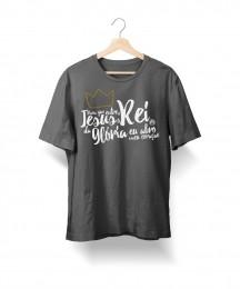 Camiseta Para Que Entre o Rei da Glória (Cinza Mescla)