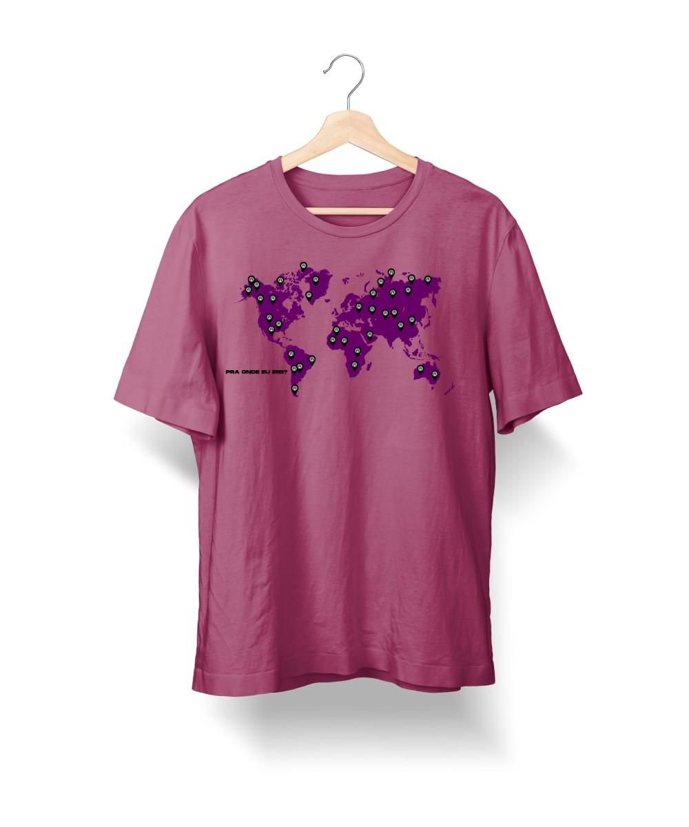 Camiseta Pra Onde Eu Irei - Mapa (Cor Uva)