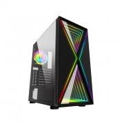 GABINETE GAMER BG-035 PULSE ADVANCED PRETO BLUECASE  S/ FONTE / LED RGB / USB 3.0 / SUPORTE GPU
