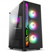 Gabinete Gamer Liketec ATX Interior Preto DEX RGB - Com 3 fans