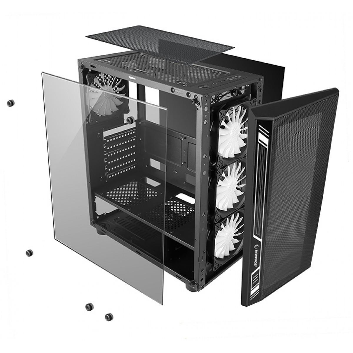 Gabinete Gamer Liketec ATX Interior Preto DEX RGB - Com 3 fans  - Fatality