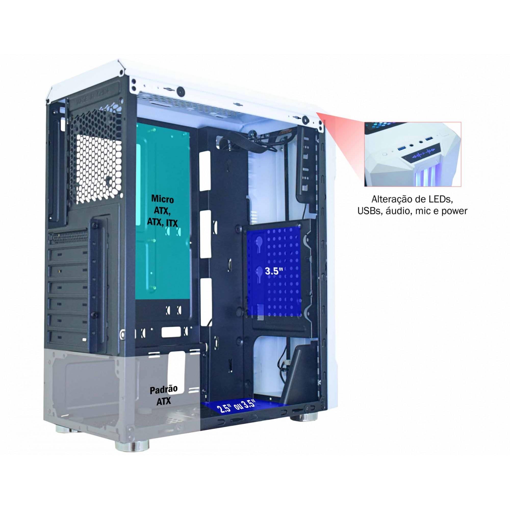 GABINETE GAMER MICRO ATX/ ATX/ ITX SEM FONTE BIFROST CG-04QI BRANCO/BARRA LED RGB K-MEX  - Fatality