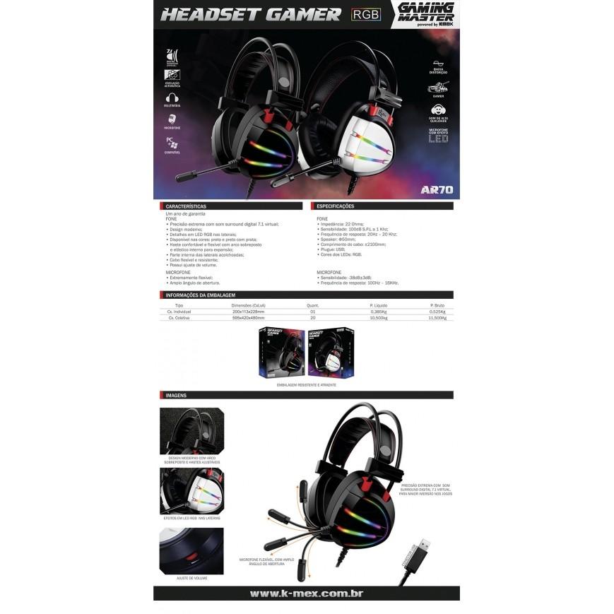 HEADSET GAMER 7.1 DIGITAL SURROUND AR70 PRETO/RGB K-MEX  - Fatality