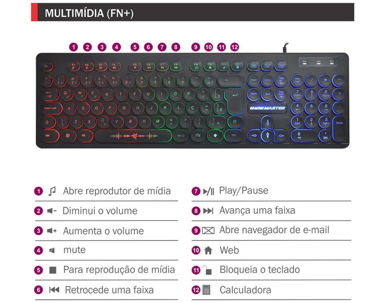 Teclado Membrana Gamer Gaming Master Steampunk KM76 Led Preto - KM7628U0001CB1X  - Fatality
