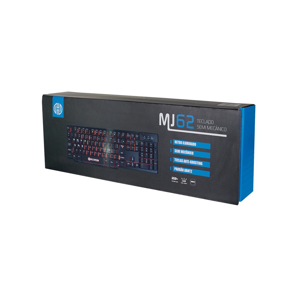 Teclado USB Gaming Semi Mecânico Hoopson MJ62 LED Preto  - Fatality