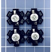4 X Power Led 3w Branco 6500k + Dissipador Estrela - Aquário