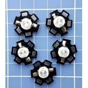 5 Unidades Power Led 3w Azul Royal Com Dissipador Estrela