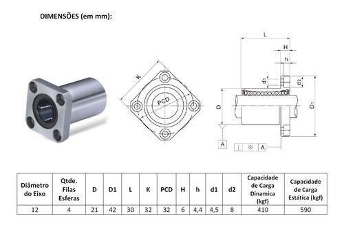 2 X Rolamento Linear Flange Quadrada Lmk12uu 12mm - Full